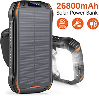 Xiyihoo Solar Charger 26800mAh, Solar Power Bank Portable Solar Panel Charger with 18 LEDs Flashlight 3 Output Ports Waterproof External Backup Battery for Outdoor Camping Hiking iOS Android