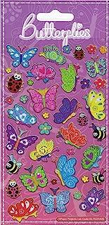 Paper Projects 01.70.04.026 szczęśliwe motyle błyszczące naklejki wielokrotnego użytku, 19,5 cm x 9,5 cm