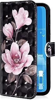 Uposao beschermhoes voor Samsung Galaxy A7 2018, klapetui van PU-leer, 3D-effect, kleurrijk bloemenmotief, portefeuille, l...