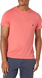 Nautica mens Solid Crew Neck Short Sleeve Pocket T-shirt T-Shirt