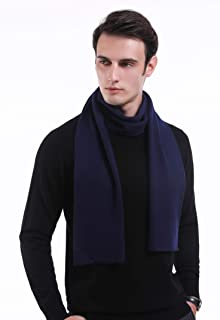 Wool Mens Scarfs Cashmere Feel Warm and Soft Australian Merino Wool Knit Long Scarf for Men with Gift Box