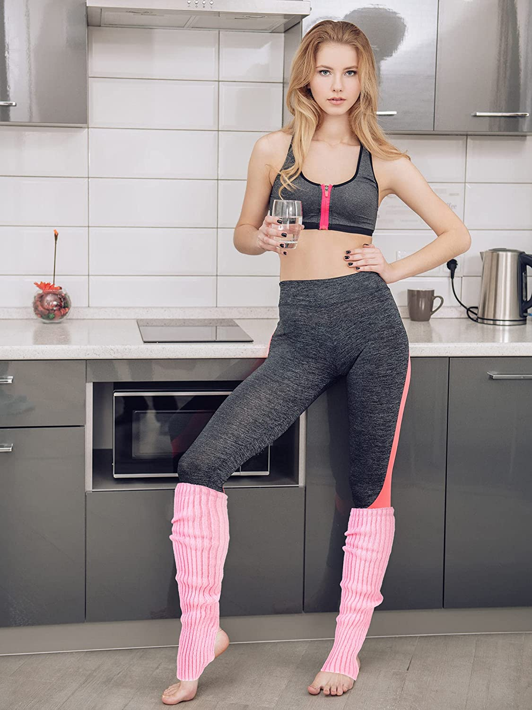 3 Pairs Women Knit Leg Warmers Knee Ballet Thigh High Leg Warmers Socks