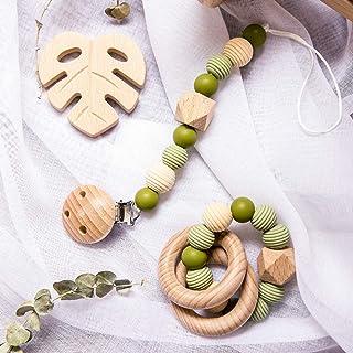 Mamimami Home DIY Teether Halskette Silikon Krankenpflege Armband Sechskant Perlen Schnuller-Clips Holzring Baby Spielzeug Zahnen Perlen