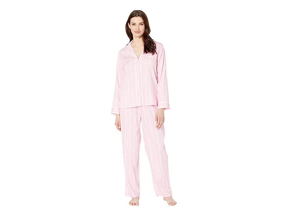 LAUREN Ralph Lauren Pointed Notch Collar Pajama Set (Pink Stripe) Women