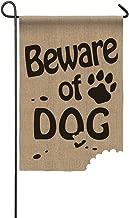 Evergreen Beware of Dog Double-Sided Burlap Garden Flag- 12.5