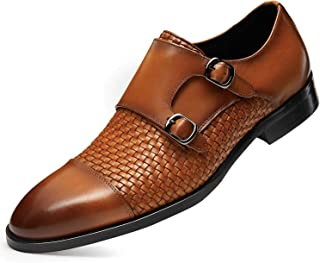 Sponsored Ad - FRASOICUS Men 's Dress Shoes Genuine Leather Single Monk Strap Slip-On Shoes for Formal Occasions