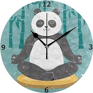 Chovy 掛け時計 置き時計 北欧 おしゃれ かわいい サイレント 連続秒針 壁掛け時計 インテリア パンダ 竹 おもしろ かわいい グリーン 緑 部屋装飾 子供部屋 プレゼント