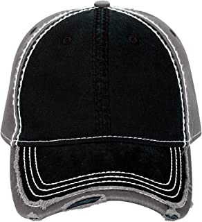 an Garment Washed Cotton Twill W/Heavy Stitching Distressed Trim Edge Visor Six Panel Dad Hat -Blk/B