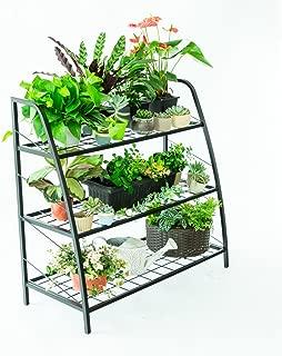 C-Hopetree Tiered Indoor Outdoor Plant Stand, Plant Rack Shelf Holder, Patio or Garage Storage Rack, Shoe Organizer, Black Metal Frame, 3-Tier