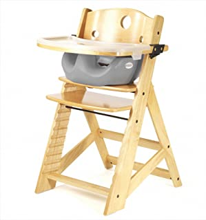 Height Right HIGH Chair Natural with Grey Infant Insert and Tray