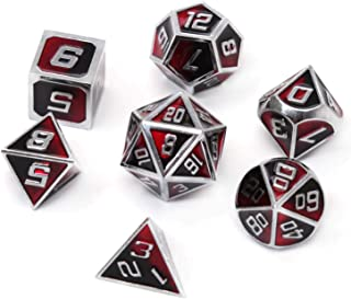 REDSUN D&D Metal Dice,RPG Dice Set,Polyhedral Solid Enamel Zinc Alloy ,New Font,for Role Playing Game Dungeons and Dragons (Dark God)