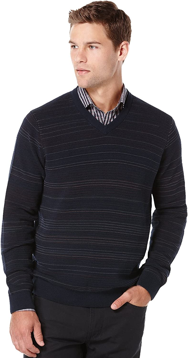 Perry Ellis Men's Big and Tall Striped V-Neck Sweater
