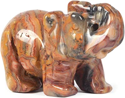JUST IN STONES Carved Natural Crazy Lace Agate Gemstone Elephant Healing Guardian Statue Figurine Crafts 2 inch
