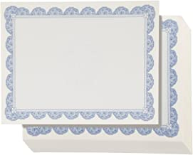 96-Sheet Certificate Paper - Blue Border Letter Size Blank Paper - Laser & Inkjet Printer Friendly - Specialty Award Diploma Paper, 8.5 x 11 Inches