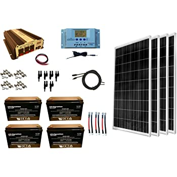 WindyNation 400 Watt (4pcs 100W) Solar Panel Kit + 1500 Watt VertaMax Power Inverter + AGM Battery Bank for RV, Boat, Cabin, Off-Grid 12 Volt Battery System