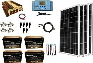 WindyNation 400 Watt (4pcs 100W) Solar Panel Kit + 1500 Watt VertaMax Power Inverter + AGM Battery Bank for RV, Boat, Cabin, Off-Grid 12 Volt Battery System