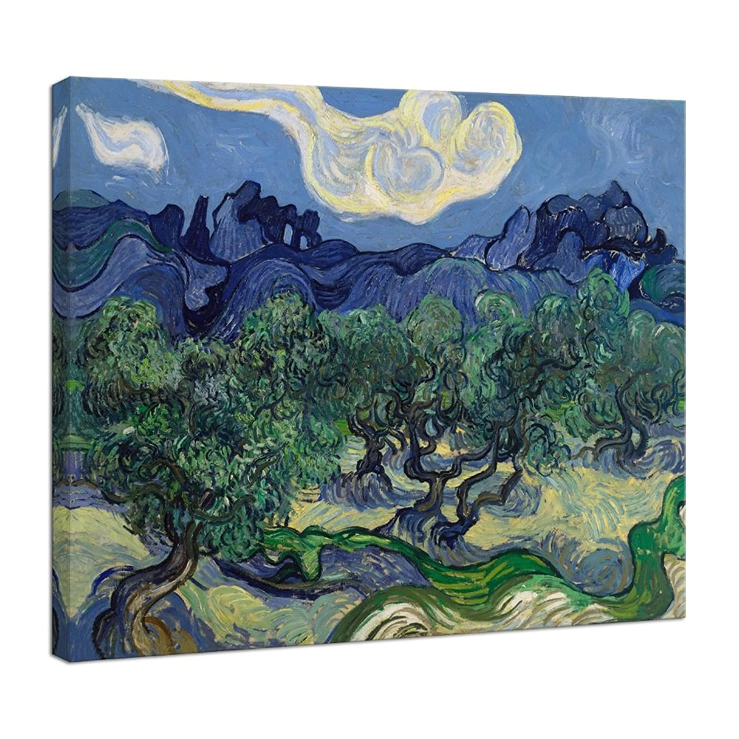 Wieco Art Large Canvas Prints Wall Art Olive Trees by Van Gogh Classic Abstract Oil Paintings Reproduction Artwork Gallery Wrapped Landscape Pictures for Living Room Bedroom Home Office Decor