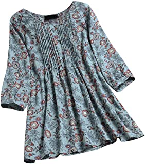 OULSEN Women's Plus Size Floral Long Shirt Long Sleeve Crew Neck Retro Blouse Fashion Loose Swing Tunic Top Shirt M-5XL