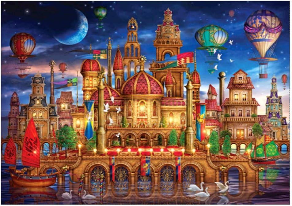 A 40x30cm 5D Peinture de Diamant de Broderie,veyikdg ch/âteau Heureux Cheval color/é Maison Dragon de la mer mod/èle Strass coll/é Bricolage peintures Point de Croix Accueil d/écoration de Cristal
