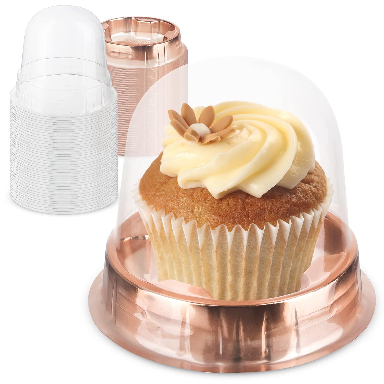 MERRI Individual Cupcake Boxes Bulk, Single Cupcake Container Plastic, 40 Pack Clear Cupcake Boxes Individual, Gold Single Cupcake Holder With Lid