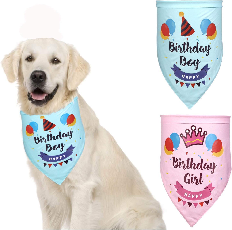 Elibeauty Dog Birthday Party Supplies Dog Bandanas Triangle Dog Scarf Adjustable Washable for Pet Costume 02