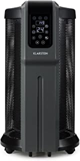 Klarstein Datscha Digital Black Edition - Calefactor circular, Radiador de 2200W, Alcance 360°, Termostato digital ajustable de 5 a 45 °C, Desconexión automática, Ruedas, Mando distancia, Mica, Negro