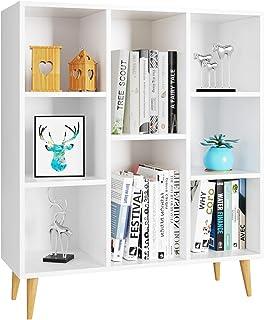 Meubles Scandinave Bibliothèque Étagère de Rangement Salon Commode Blanc 8 Casiers Armoire en Bois 80x29,5x93cm