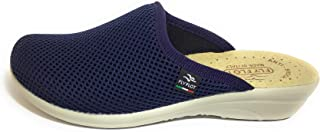 Fly Flot T4368 Fe Blu Ciabatte Donna Made in Italy Vera Pelle ANTISHOCK Tessuto