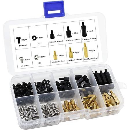 HSeaMall - Kit de tornillos, tuercas y espaciadores hexagonales de nailon de color negro, tornillos, tuercas y espaciadores de cobre, con 180 piezas, tamaño M3