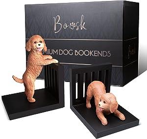 Dog Bookends - Decorative Unique Heavy Duty Book Ends - Premium Bookend Pair for Gift, Home Décor, Shelves, Art Decor