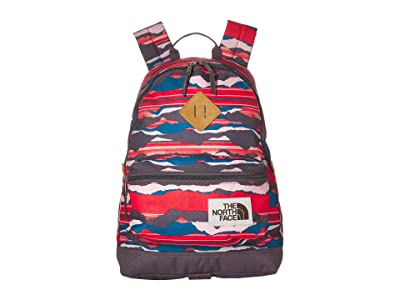 The North Face Mini Berkeley Backpack (Juicy Red Landscape Stripe Print/Rabbit Grey) Backpack Bags
