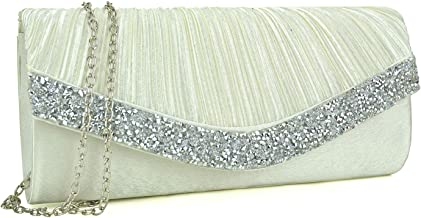 Dasein Women's Satin Pleated Evening Bags Rhinestone Accented Flap Clutch Purses with Silver Chain Strap