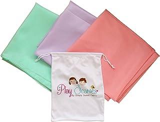 """کیف ذخیره سازی روسری برای تمیز کردن آسان: مناسب برای کودکان تظاهر شده و بازی خلاقانه ، لباس پوشیدن و سرگرمی در دوران کودکی ، بسته نرم افزاری بزرگ 35 """"از 3 ابریشم پلی استر صورتی ، بنفش و نعنا"""