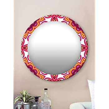 999Store Printed Classical Yellow and Pink Round Mirror (MDF_17X17 Inch_Multi)
