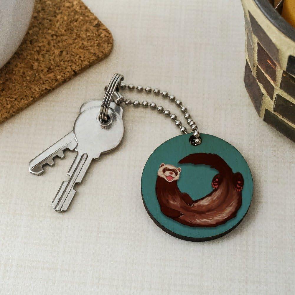 Happy Ferret Wood Wooden Round Keychain Key Chain Ring