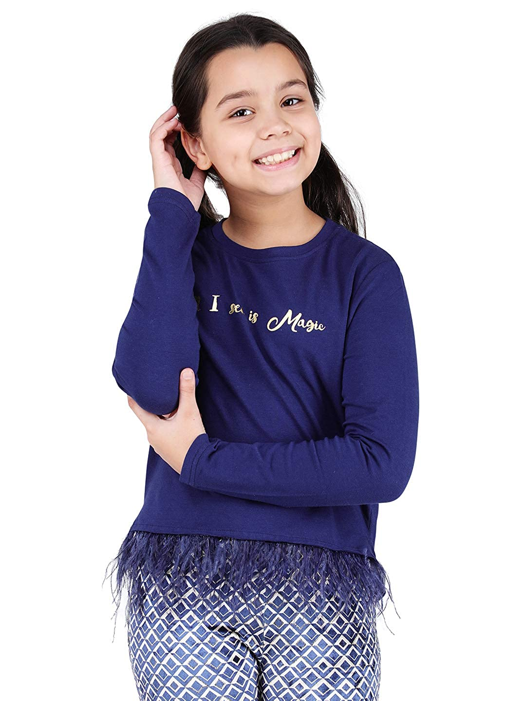 Buy One Friday Girls Full Sleeves T-Shirt | Baby Girls Tees | Designer Blue  Tops for Kids | Winter Wear(0-12 Years) at Amazon.in