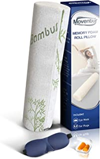 Moventur Bamboo Neck Roll Pillows for Sleeping and Cervical Pain Relief - Round Bolster Tube Pillow for Body Support of Neck, Back, and Lumbar - Cylinder Memory Foam Core Denneroll for Sleep in Bed