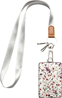 MJFloria Lanyard ID Badge Holder Case Credit Card Wallet with with 1 Clear ID Window & 1 Credit Card Slot and a Detachable Neck Strap Lanyard for Women Girls Teens (White Floral)