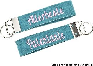 Schlüsselanhänger beidseitig bestickt in 34 Filz-Farben - mit Text, personalisiert, Bestickung Name Wunschtext Schlüsselba...