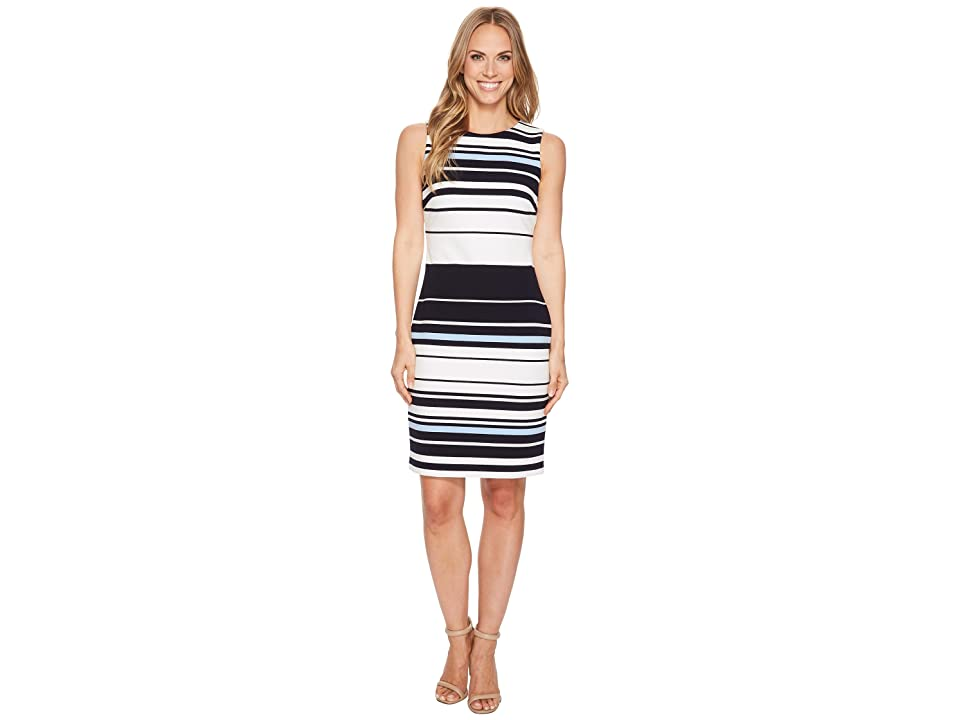 Calvin Klein Sleeveless Ottoman Dress (Ice/Multi) Women