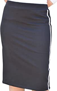 Kosher Casual Women's Modest French Terry Cotton Spandex Knee Length Straight Skirt with Sports Striping