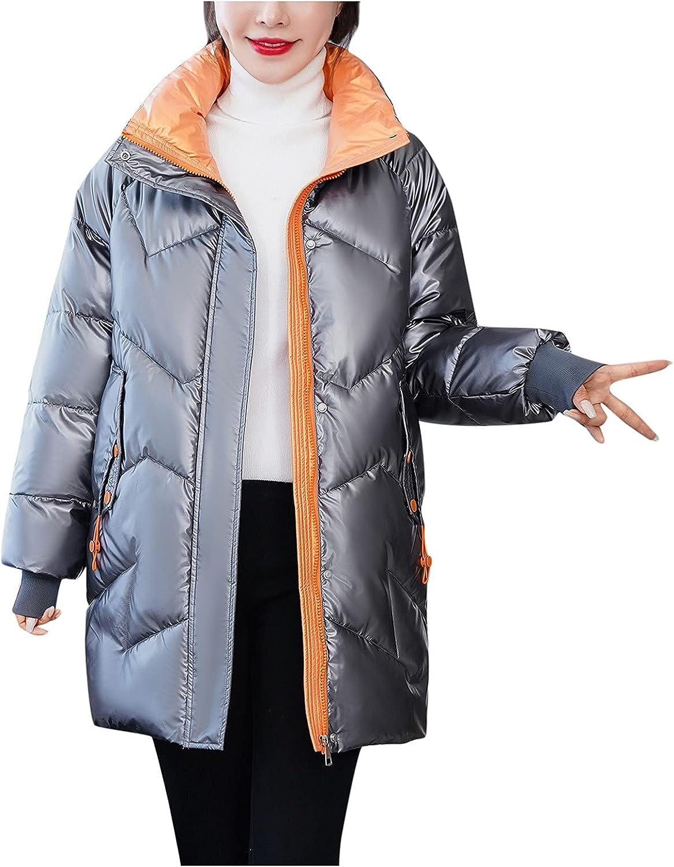Rovga Women Down Jacket Long Cotton-Padded Lightweight Jackets Pocket Glossy Zipper Winter Warm Puffer Coats Outerwear