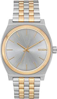 Time Teller A054 - Silver/Gold - 109M Water Resistant Men's Analog Fashion Watch (37mm Watch Face, 19.5mm-18mm Stainless Steel Band)