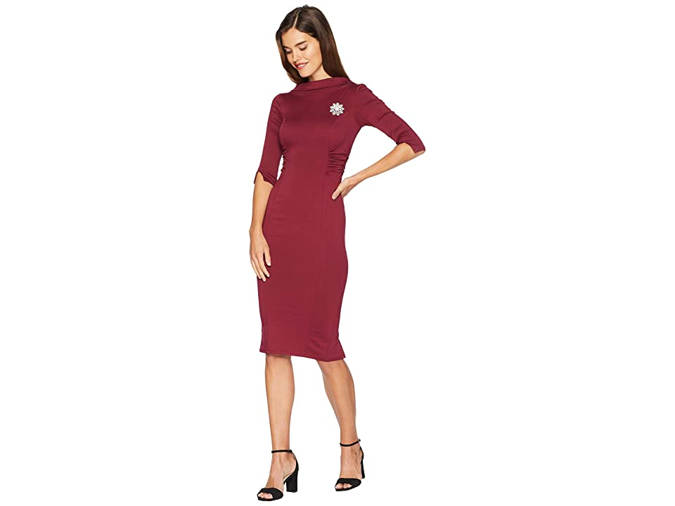 Unique Vintage 1960s Stretch Sleeved Lucinda Wiggle Dress (Burgundy) Women