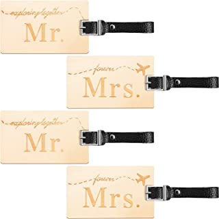 Mr and Mrs Luggage Tag Wood Honeymoon Luggage Tag Wooden Wedding Travel Luggage Tag Travel Couple Gift (4 Pieces)