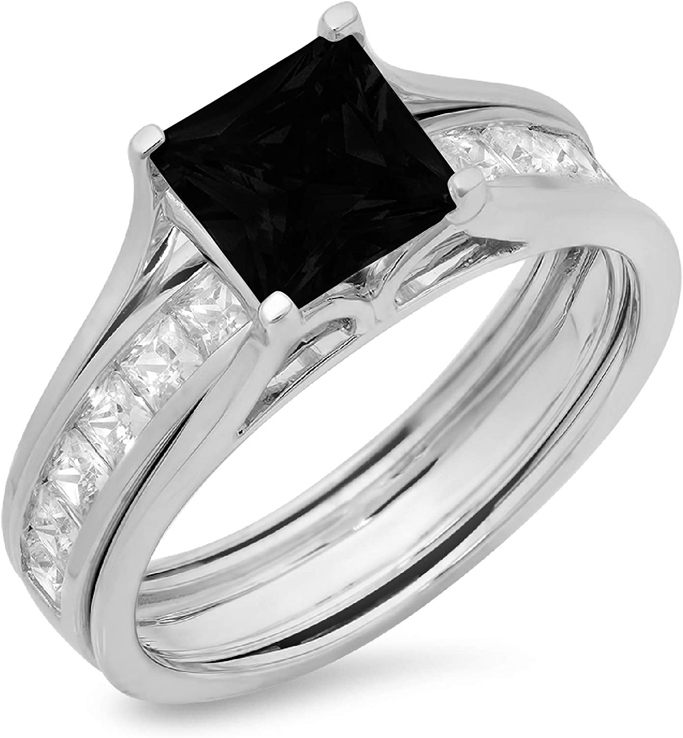 3.34ct Princess Cut Pave Solitaire with Accent VVS1 Ideal Flawless Genuine Natural Black Onyx Engagement Promise Designer Anniversary Wedding Bridal Ring band set Sliding 14k White Gold