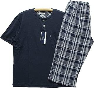 パジャマ メンズ [Lサイズ] 紳士 半袖 7分丈スボン Amour アムール 天竺ニット&クレープ プルオーバー