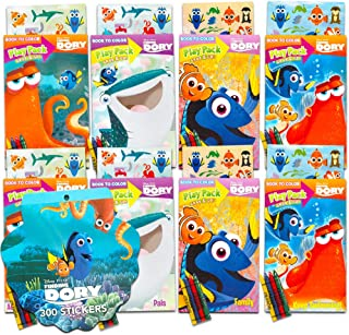 Finding Dory Party Favors Set -- 8 Play Packs Filled with Coloring Books, Crayons and Stickers, 4 Assorted Titles (Finding Nemo Party Supplies)