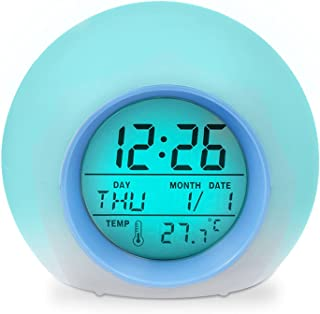 Wocst Alarm Clock, Wake Up Light Digital Clock with Indoor Temperature & Calendar & 6 Natural Sound & 7 Colors Changing Light for Kids, Children, Working Parents, Students etc (Blue