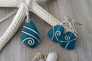Handmade in Hawaii, wire wrapped teal blue sea glass Necklace+Earrings Set, (Hawaii Gift Wrapped, Customizable Gift Message)